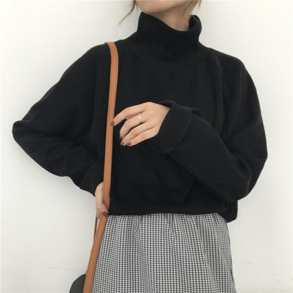 Herbst-neue Frauen-Strickjacke-beiläufige lose Qualitäts-Pullover mit Stehkragen Strickpullover 2019 Lange Batwing Ärmel Gehäkelte Pullover