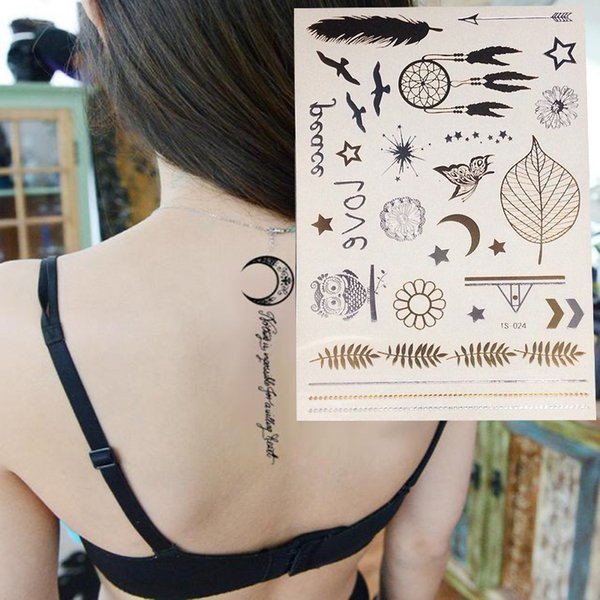 New Decal Flash Tattoo Metallic Gold Silver Temporary Owl Feather Style Tattoo Sticker Charm Hot Best Fake Tattoos Breast Cancer Temporary Tattoos