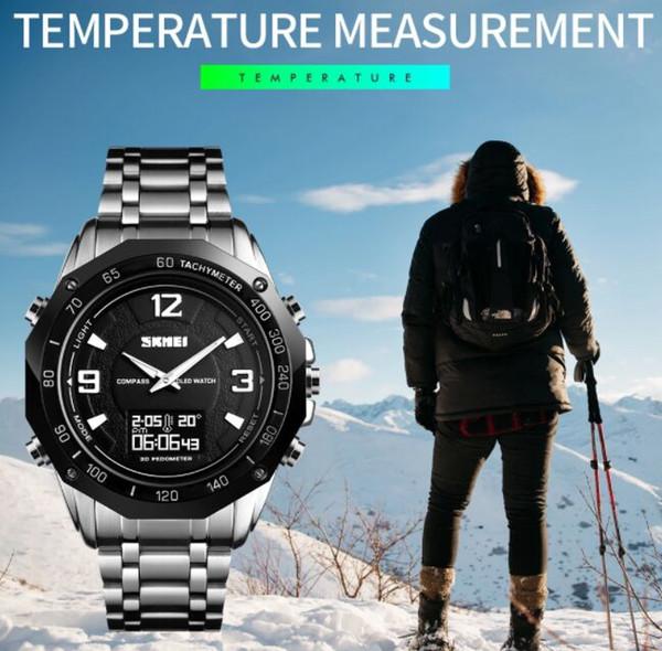 Skmei Podomètre numérique montres étanche et avec la température en acier inoxydable boussole montre analogique 1464