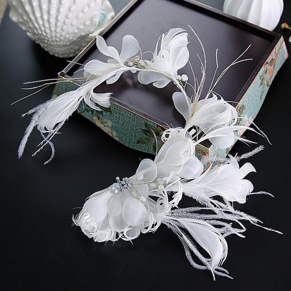 Jewelry Bridal Feathers Soft Headband Tiara White Beautiful Smart Yarn Flower Hairband Hair Vine Sweet Wedding Hair Accessories Jewelry