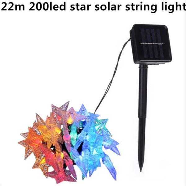 22m 200led star modelling Solar String Lights Outdoor Fairy Light String per la decorazione della festa nuziale di Natale con pannello solare