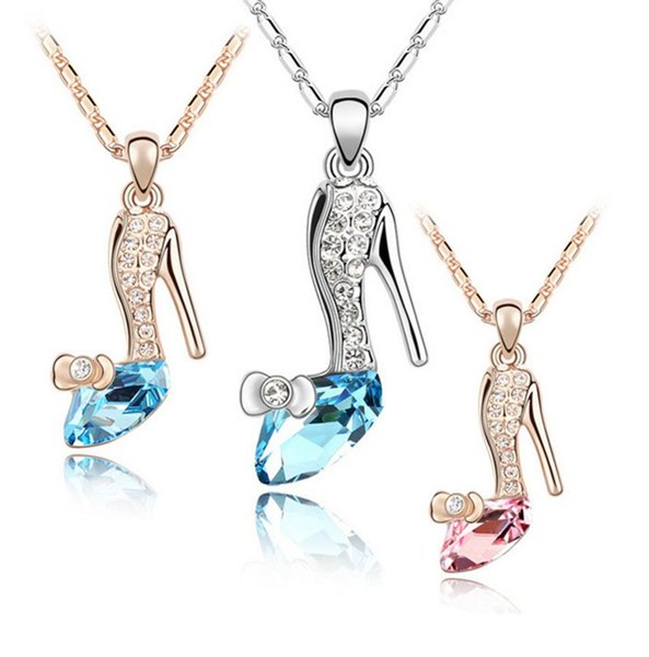 Yeni tasarım kristal ayakkabı kolye alaşım bayanlar kırmızı hign topuklu ayakkabı gümüş zincir kolye çekicilik bayanlar için kolye