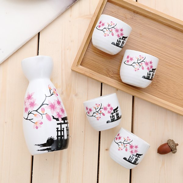 5Pcs/Lot Japan Porcelain Vintage Ceramic Pot Flagon Liquor Spirits Cups Set Kitchen Dining Bar Drinkware Japanese Sake Wine Set
