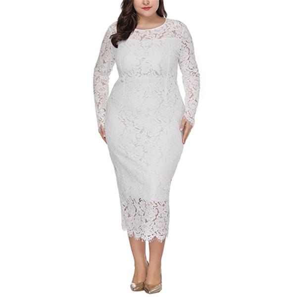 Plus Size Vestido de Renda Mulher Tamanho Grande Vestidos de Moda Oco Out Vestidos de Noite Elegante Do Vintage 5xl 6xl Vestido de Festa de Casamento