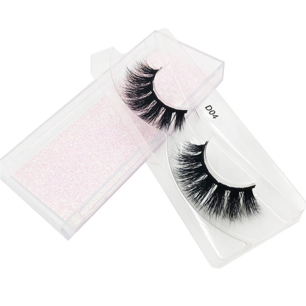 Wholesale D04 the Good Quality 3D 100% real Mink Natural Thick Fake Eyelashes handmade Lashes Makeup Extension