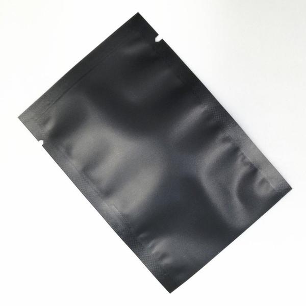 Матовый черный металлик алюминиевая фольга с открытым верхом термосвариваемая сумка для хранения пищевых продуктов для кофейных порошков рисовые бобы Упаковка образца мешки 3 небольших размеров