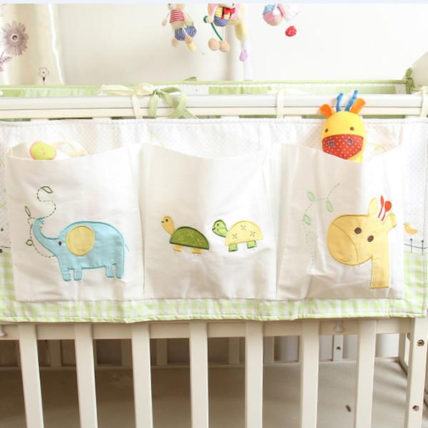 Baby bumper Cotton Crib Organizer Baby Cot Bed Hanging Storage Bag Toy Diaper Pocket for Newborn Crib Bedding Set Accessories