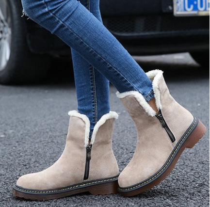 Eu 34-43 Plus Size Cute Women Warm Sweater Snow Boots Casual Ankle Boots Winter Thicken Shoes 2018 New Beige,Black Wholesale