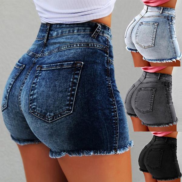Talle alto dril de algodón con flecos mujeres Pantalones cortos ajustado de rasgado agujero de los pantalones vaqueros cortos con borla más el tamaño XXXL 2019 Verano Nueva Mujer Pantalones cortos