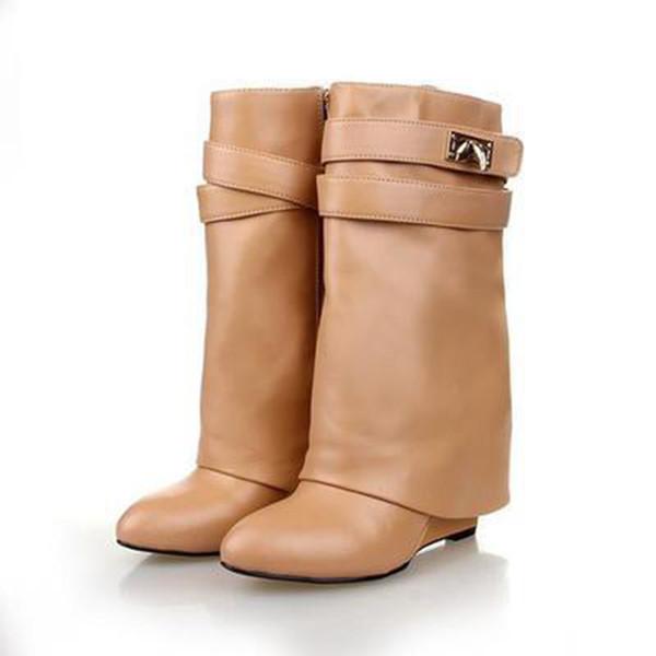 2019Hot Satış Metal Köpekbalığı kilidi Kadınlar Diz Yüksek Boots Polonyalı Deri Uzun Patik 6 Renkler Kayış takozları Shoesfashion Bayanlar Şövalye Katman Çizme