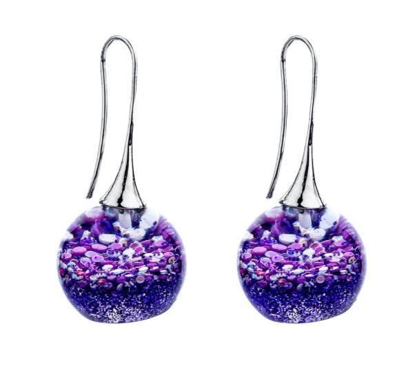 2019 New Creative Resin Magic Ball Ear Hook Colored Resin Earrings Glazed Ball Earrings Women Fashion Jewelr