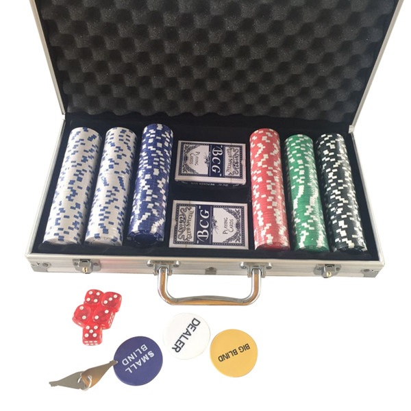New Portable 300 Chips Poker Dice Chip Set Texas Poker Cards Aluminum Case