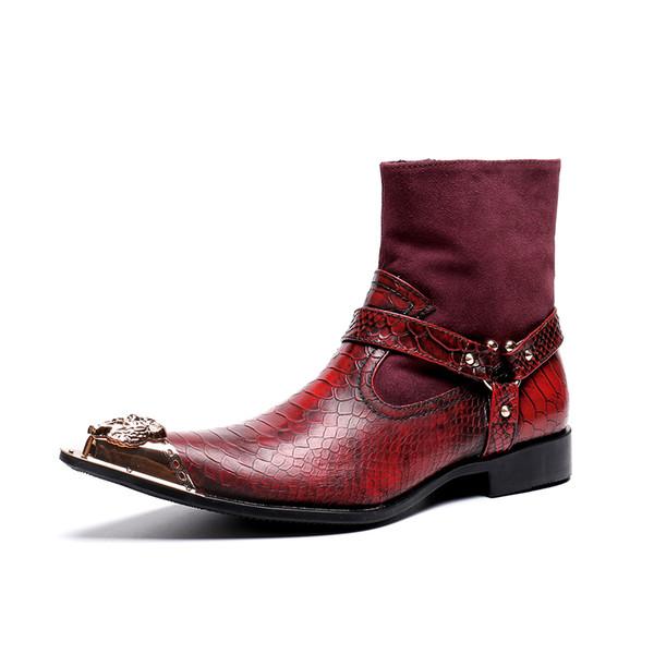 Moda 2019 Kırmızı Süet Deri Patchwork Erkekler Çizmeler Kış Sivri Burun Erkekler Büyük Boy Motosiklet Kısa Çizmeler