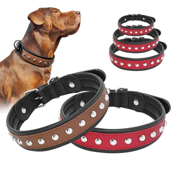 Collier clouté chien en cuir véritable Colliers en cuir pour Medium Large Big Dogs Pitbull Bulldogs Rottweiler col perro Marron Rouge