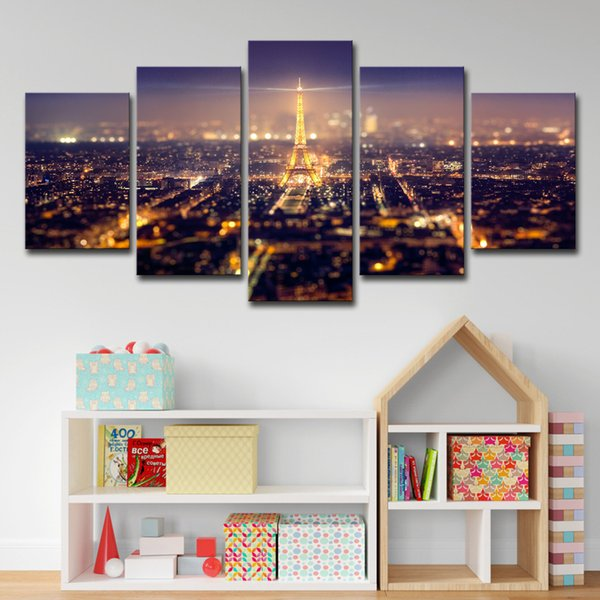 Famous Building Eiffel Tower Painting 5 Pieces Wall Art Modular Picture HD Print Canvas Art Poster (No Frame)