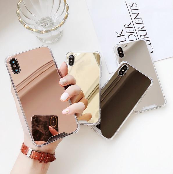 Ucuz Ayna kılıf darbeye dayanıklı gül altın gümüş iPhone 6 6 S iPhone8 8 Artı 7 7 Artı X XR XS max tampon kapağı