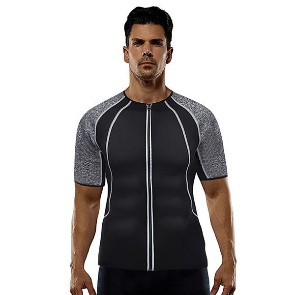 Gris Sport en néoprène moulante hommes Top Survêtement Workout Sauna Body Shaper Minceur Hommes Chemises pour perdre du poids