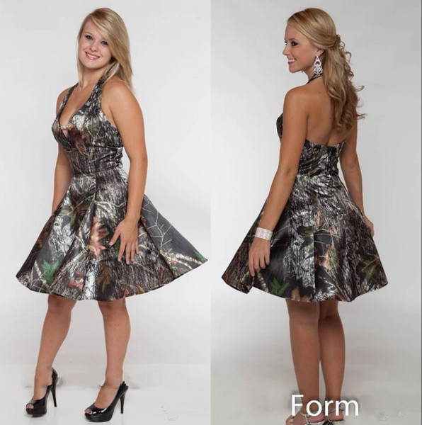Halter Camo Short Bridesmaid Dresses 2020 Ruched Knee Length Plus Size Maid of Honor Wedding Guest Dresses