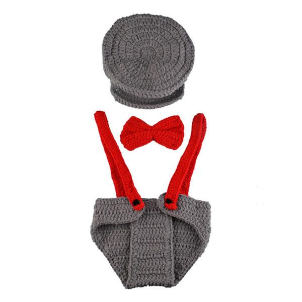 Newborn Gray Newsboy Costume,Handmade Knit Crochet Baby Boy Newsboy Hat,Diaper Cover,Bow Tie Set,Infant Photography Prop,Shower Gift