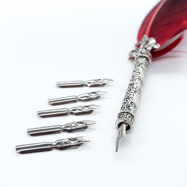 1 Unidades Quill Pen Feather Dip Pluma estilográfica Cancillería Quill Oblique Plumas + 5 unids Nib tallado Metal para fuente de lujo Caligrafía A Vintage