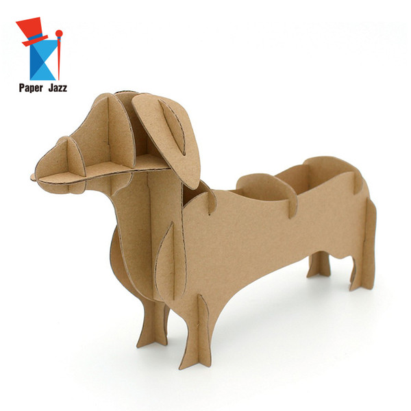 best selling Diy 3D Handmade Home Decor Storage Box Cardboard DOG puzzle cute animal 3d puzzle for kids