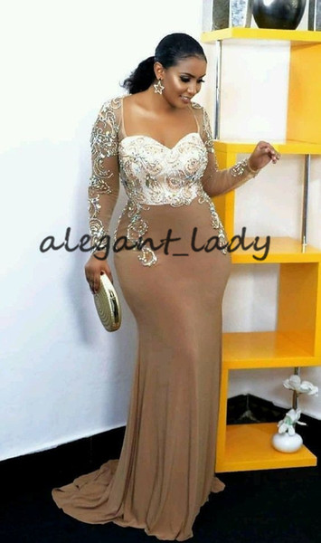 Plus Size Champagne Mermaid Evening Formal Dresses 2019 Sweetheart Crystal Beaded Illusion Long Sleeve African Occasion Prom Pageant Gowns