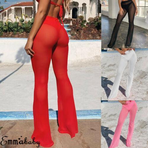 Sommer-Frauen-durchsichtige lange Hosen-Ineinander greifen-Fischnetz-Bikini-Vertuschung-Badebekleidung, die Schlagunterseite-Aufflackern-Hosen-Hose badet