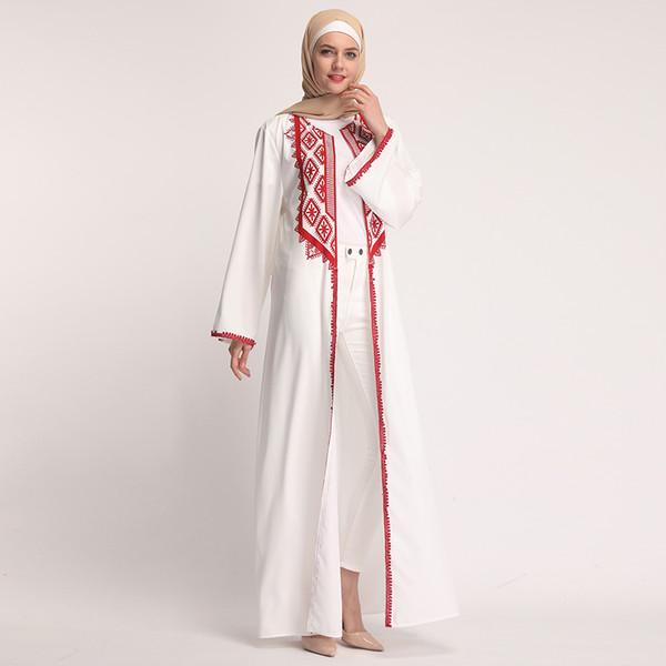 2019 New arrival soft material arabic white dubai islamic clothing women muslim open abaya dress kimono