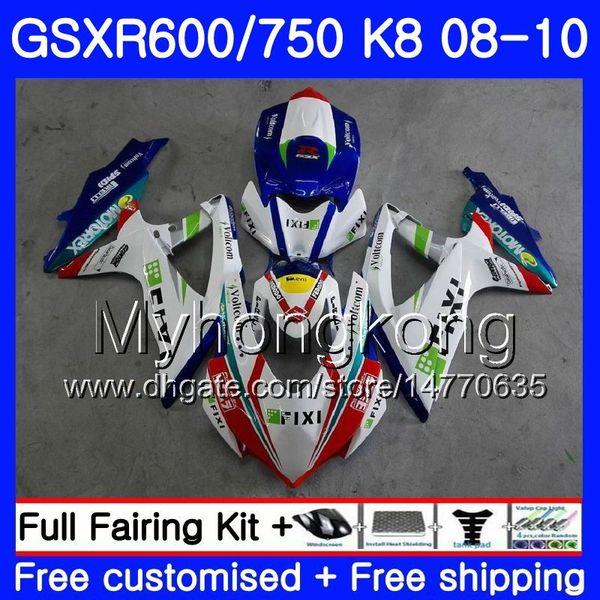 Kit For SUZUKI GSXR 750 600 GSX R750 GSXR600 2008 2009 2010 297HM 41 GSX  R600 R750 600CC GSX R600 K8 GSXR750 08 09 10 Fairing White Light Motorbike