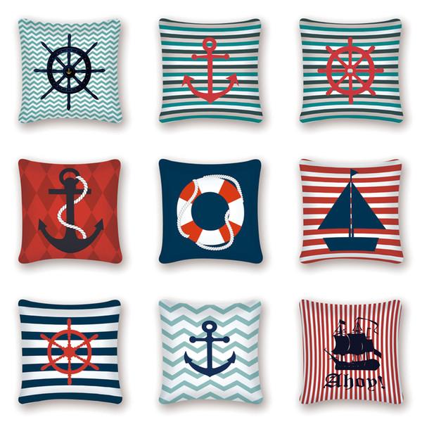 Nautical Kissenbezug Dekorative Kissenbezüge Navy Anchor Decor Meer Ozeanblau Kissenbezug Couch Kissen Kissen Home Schlafsofa