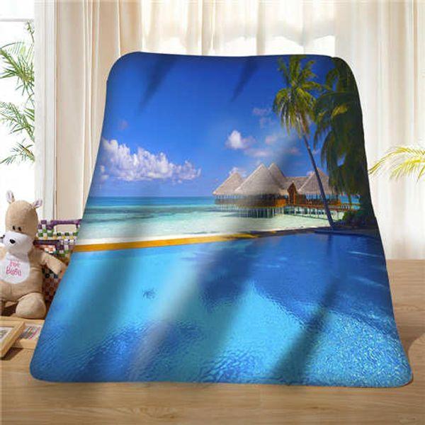 Custom Sea-Ocean-Beach-Huts-Palm-Trees- Blanket Soft Fleece DIY Your Picture Decoration Bedroom Sofa Multi Size#929-02-003-74