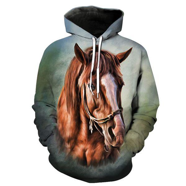 wholesale Drop shipping 2019 New Fashion painting 3d hoodies Animal horse Creative Print Men/Women Casual Hooded Sweatshirt