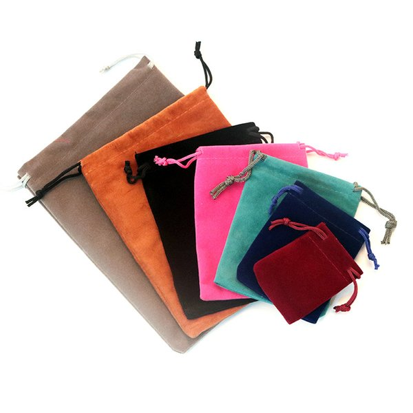 2000pcs/Lot 5x7cm Black/Gray/Pink /Purple Upscale Velvet Gift Bags For Jewelry Packaging Bags 2018 New Velvet Drawstring Bags