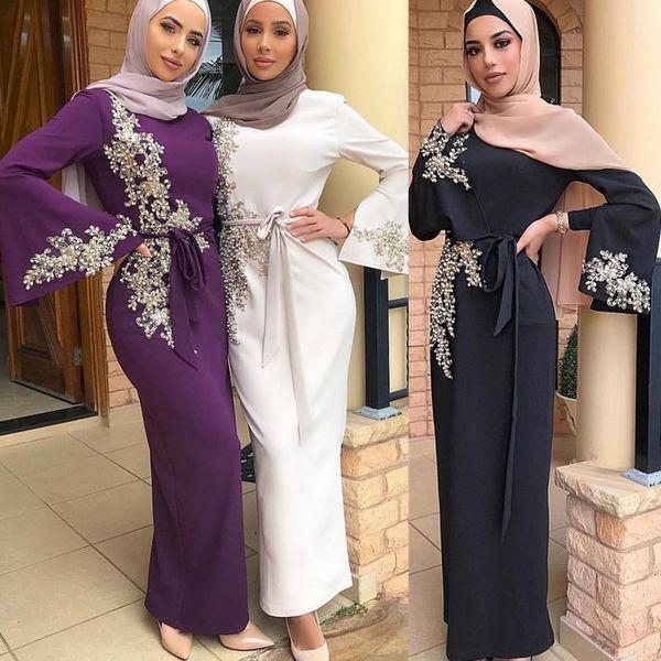 top popular Elegant Muslim Embroidery Abaya Full Dress Vestidos Cardigan Kimono Loose Long Robe Gowns Jubah Middle East Eid Ramadan Islamic 2021