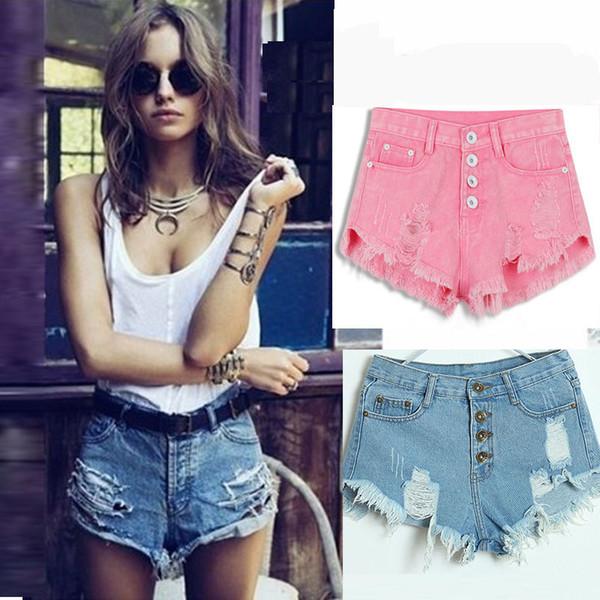 Denim Women Ladies 2019 Sweet Tassel Hole Mid Waist Short Jeans Sexy Mini Booty Shorts Candy Colors White Black C19041102