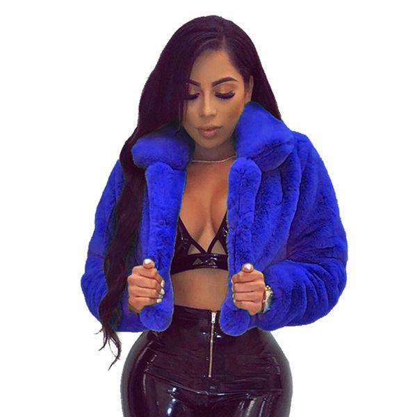 JRRY сексуальные теплые пушистые пальто из искусственного меха куртки пушистый искусственный мех женщины укороченная куртка открытый стежок пальто 6 цветов плюс размер XXL