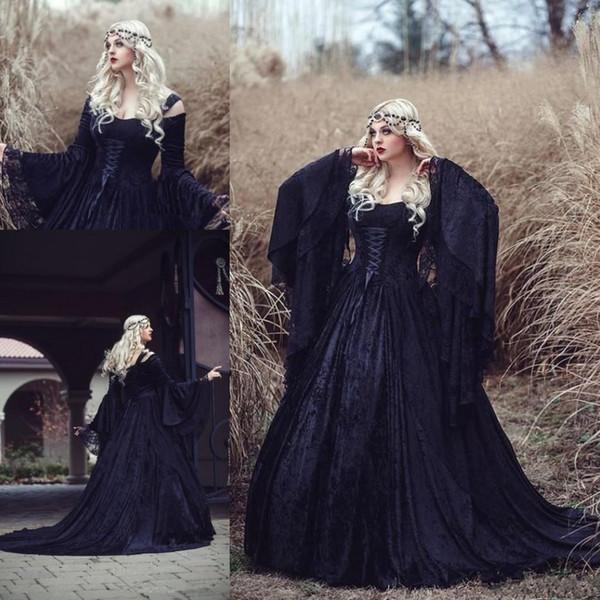 Старинные готические Hallowen Кружева Принцесса Свадебные платья плюс размер плеча с длинным рукавом Замок Часовня Поезд Свадебное платье