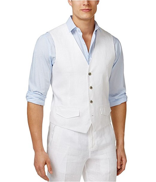 High Quality Groom Vests White Groomsmens/Best Man Vest Custom Made Size and Color Three Buttons Wedding/Prom/Dinner Waistcoat M1231