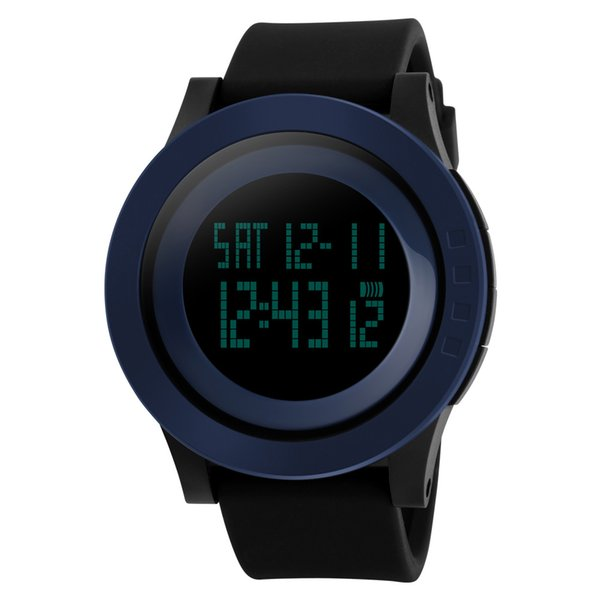 Reloj digital de pulsera deportivo para hombres Pantalla LED de cara grande Electrónica Relojes Alarma impermeable Cronómetro Luz de fondo Al aire libre Casual