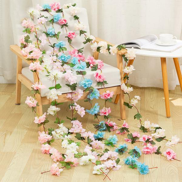 2.2m Artificial Cherry Blossoms Flower Vines Party Supplies Garland Silk Fake Cherry Flower Rattan Wedding Home Decor