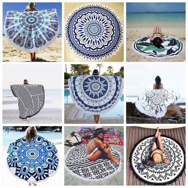 Runde Mandala Tapisserie Indian Beach Throw Handtuch Quaste Wandbehang Tapisserie Yoga Matte Sonnencreme Schal Wickelrock Teppiche 38 Designs DW456