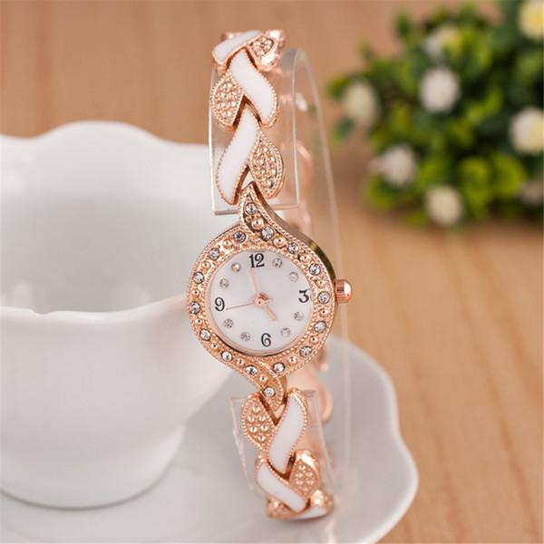 Mujeres Niñas Hojas Correa Redonda Dial Reloj de Cuarzo Analógico Rhinestone Reloj de pulsera de Aleación Temporizador Accesorios de Decoración de Mano