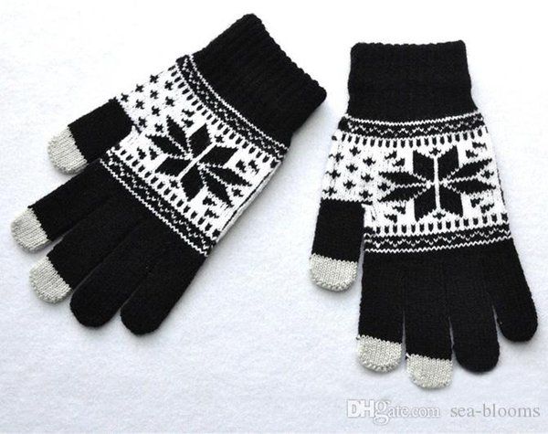 201901 Men Women Winter Snowflake Maple Leaf Pattern Warm Knitted Mittens Unisex Gloves Classic Five Finger Christmas Gloves H919Q