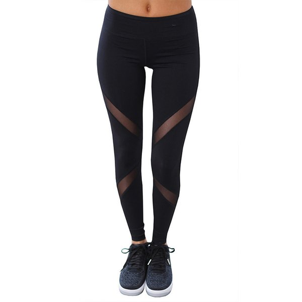 Sexy Women Leggings Gothic Insert Mesh Design Trousers Pants Big Size Black Capris Sportswear New Fitness Leggings 2019