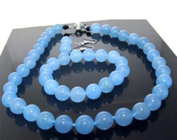 "Prett Lovely Women's Wedding shipping> One Set 18"" Necklace Bracelet Earring Blue gem 10mm Knotted Each Beads silver-jewelry"
