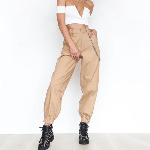 Khaki cargo pants with chain Women cool trousers Black white female street wear Casual autumn summer casual thin pants outwear