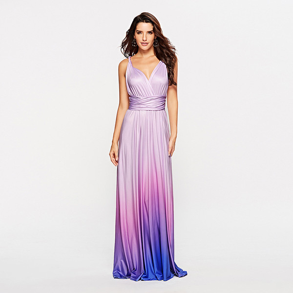 2019 Bridesmaid Dresses Infinity Dress Eggplant Evening Convertible Dress Maternity Bridesmaid Gown Party Soft Milk Silk Multiway Gradient Dress From