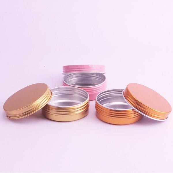 50 x 60g Gold Aluminum Cream Jar Box Metal Pink Candy Pot Nail Art Makeup Face Care Mask Empty Cosmetic Metal Tin Containers