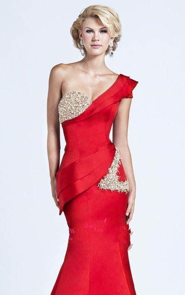 New Gorgeous Evening Dresses One Shoulder Short Sleeve Red Satin Crystal Beads Glitter Mermaid Sweep Train Draped Peplum Formal Prom Gowns