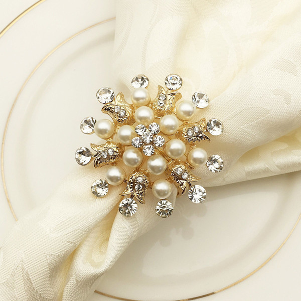 10pcs/lot Hotel Ring Holder Round Flower Pearl Buckle Christmas Wedding Party Napkin Circle Decoration Q190606